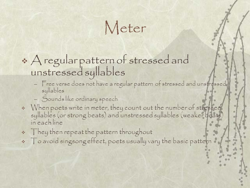 Meter A regular pattern of stressed and unstressed syllables