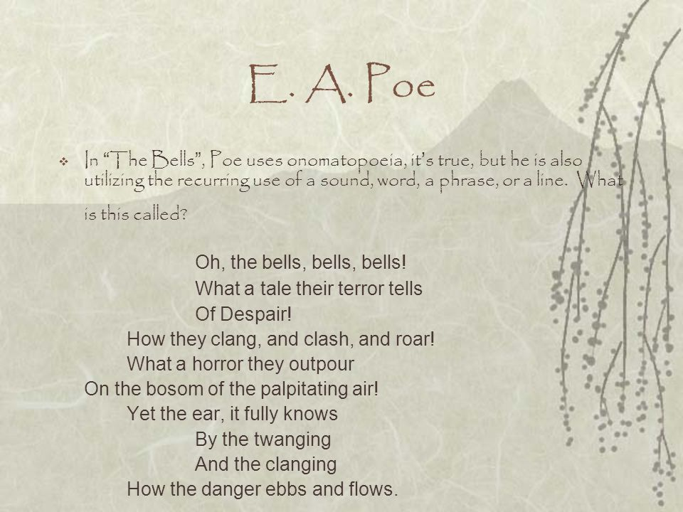 E. A. Poe Oh, the bells, bells, bells!