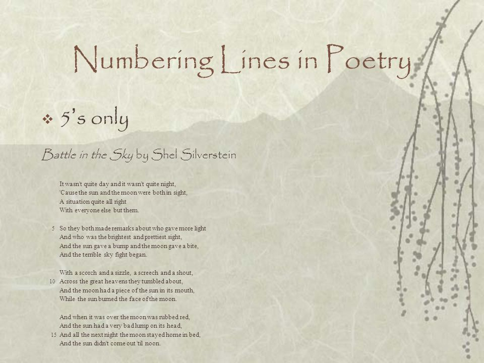 Numbering Lines in Poetry