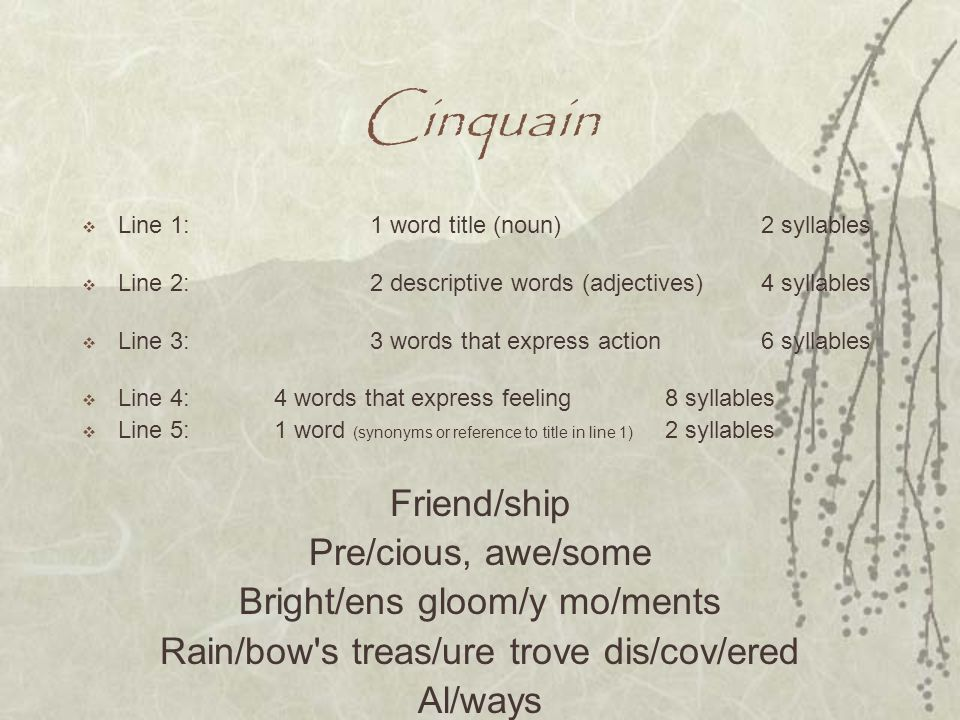 Cinquain Friend/ship Pre/cious, awe/some Bright/ens gloom/y mo/ments