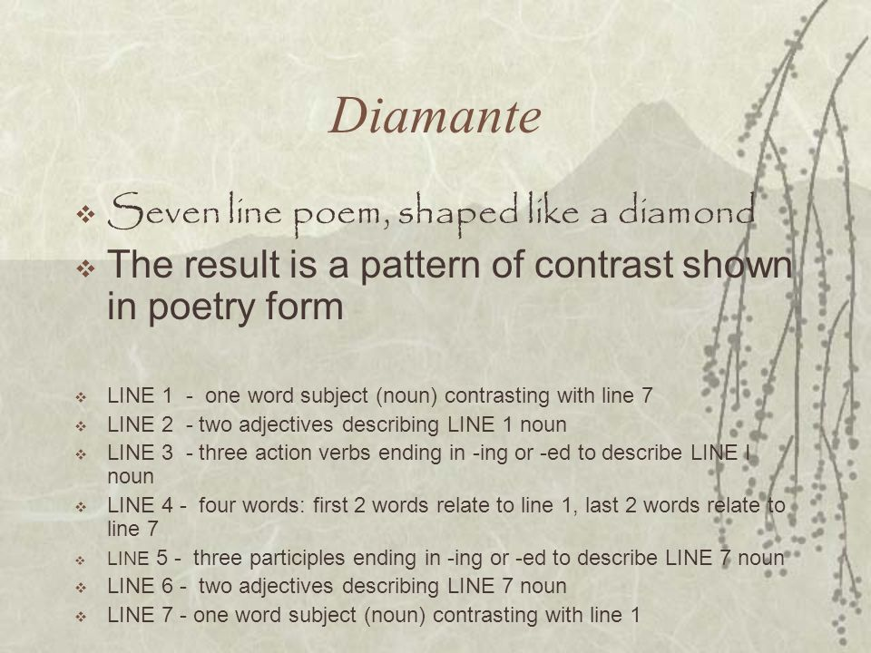 Diamante Seven line poem, shaped like a diamond