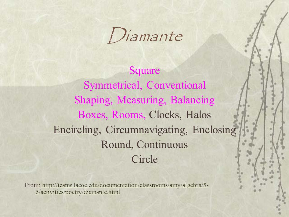 Diamante Square Symmetrical, Conventional