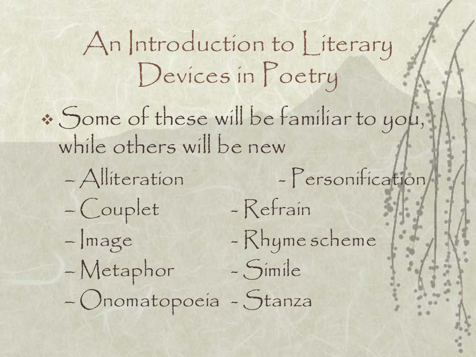 An Introduction to Literary Devices in Poetry