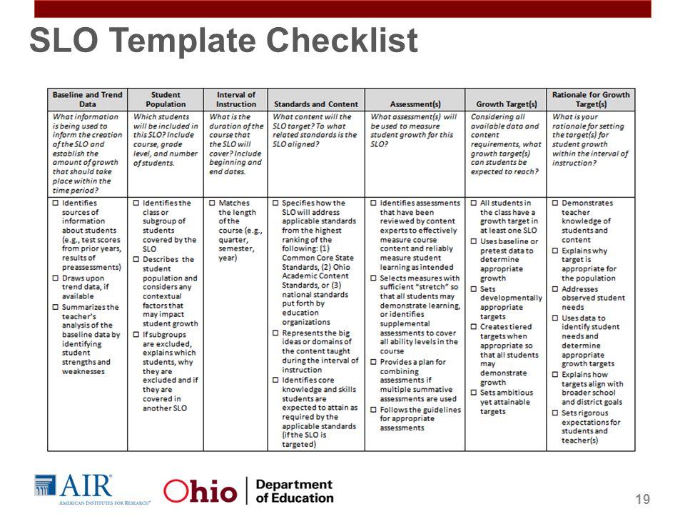 SLO Template Checklist