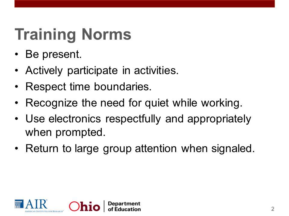 Training Norms Be present. Actively participate in activities.