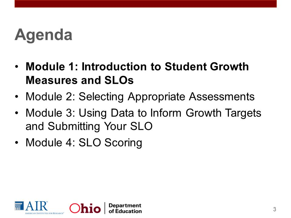 Agenda Module 1: Introduction to Student Growth Measures and SLOs