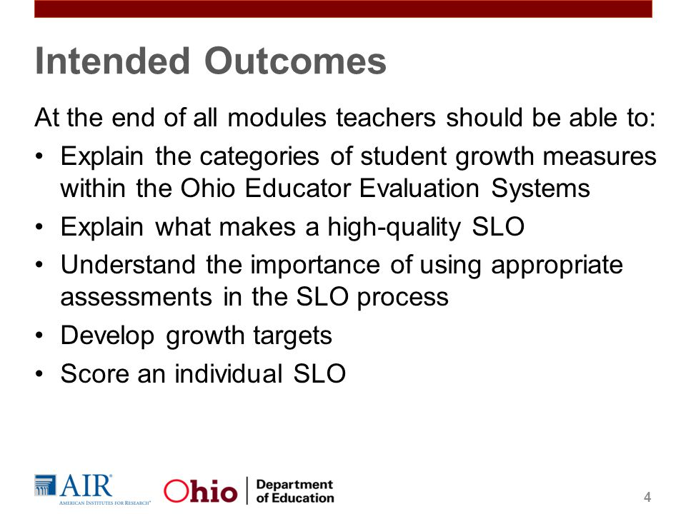 Intended Outcomes At the end of all modules teachers should be able to: