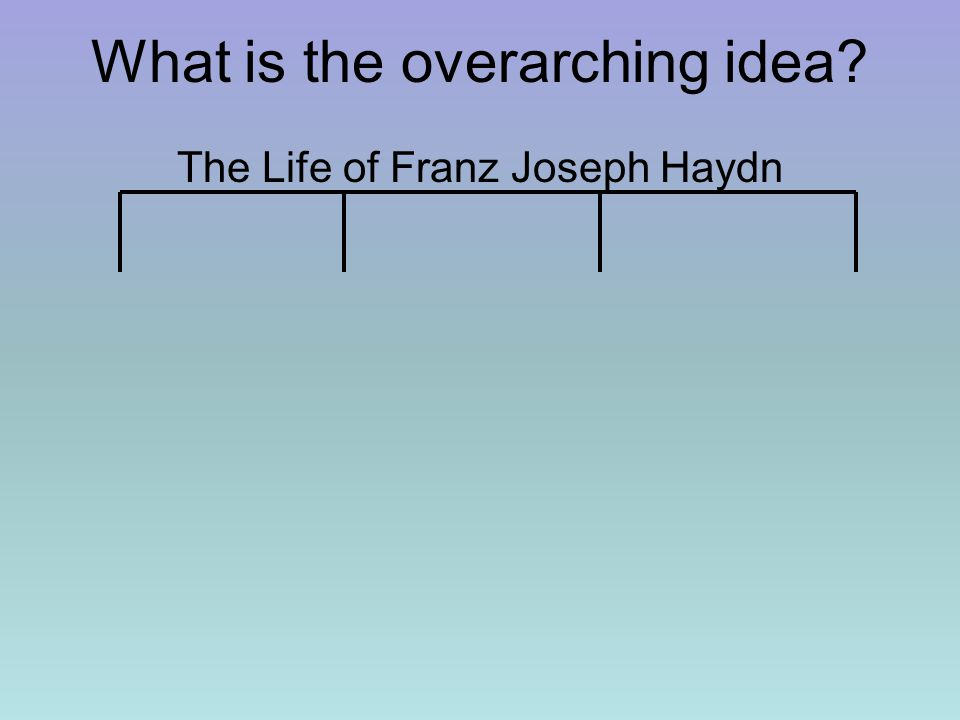 What is the overarching idea