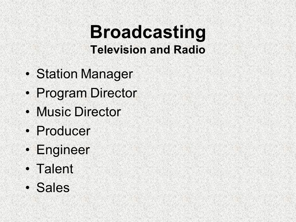Broadcasting Television and Radio