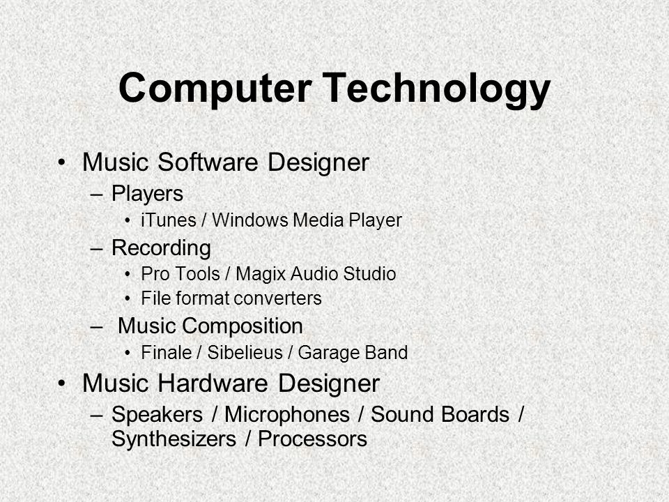 Computer Technology Music Software Designer Music Hardware Designer