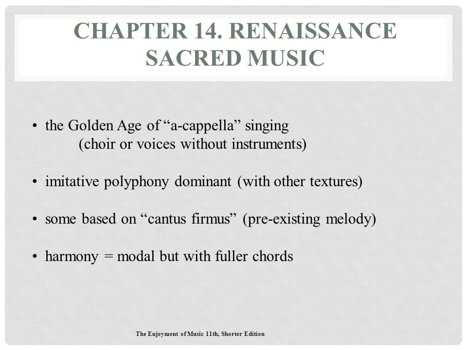 Chapter 14. Renaissance Sacred Music