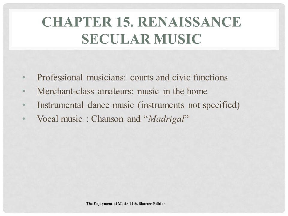 Chapter 15. Renaissance Secular Music