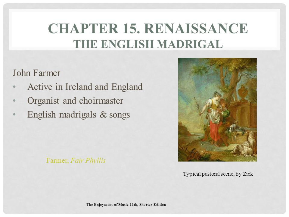 Chapter 15. Renaissance The English Madrigal