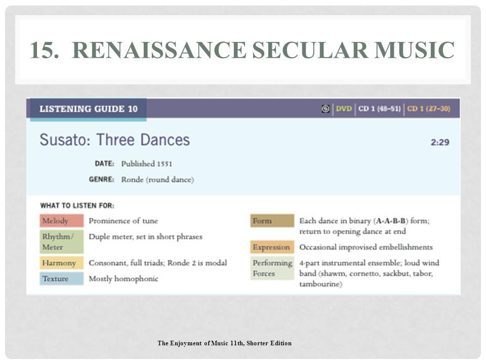 15. Renaissance Secular Music
