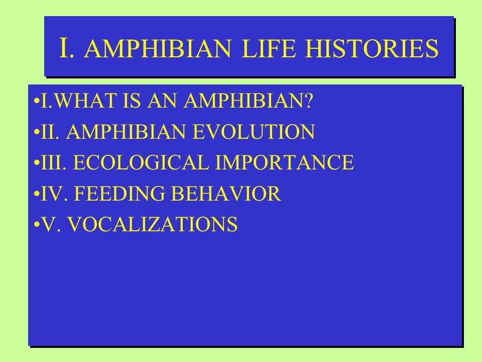 I. AMPHIBIAN LIFE HISTORIES