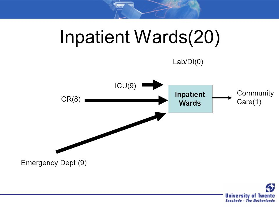 Inpatient Wards(20) Lab/DI(0) ICU(9) Inpatient Community Wards Care(1)