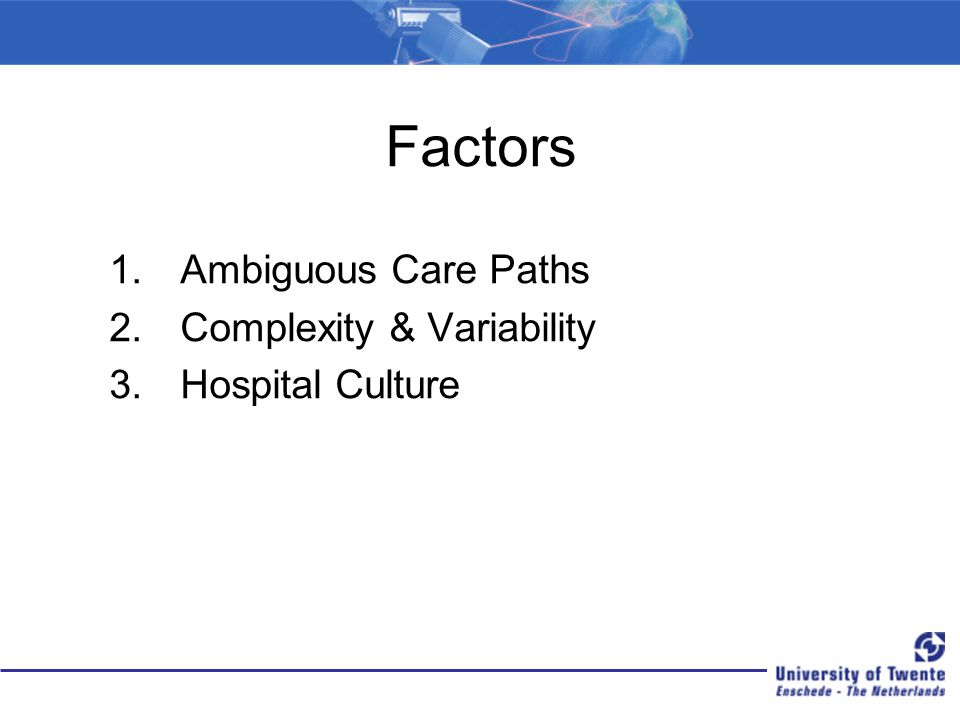 Factors Ambiguous Care Paths Complexity & Variability Hospital Culture
