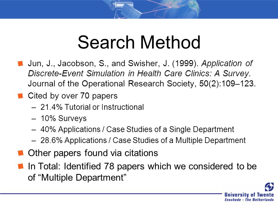 Search Method Other papers found via citations
