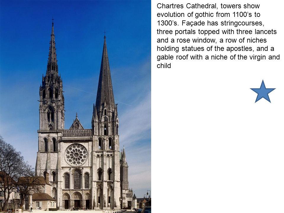 Chartres Cathedral, towers show evolution of gothic from 1100's to 1300's.