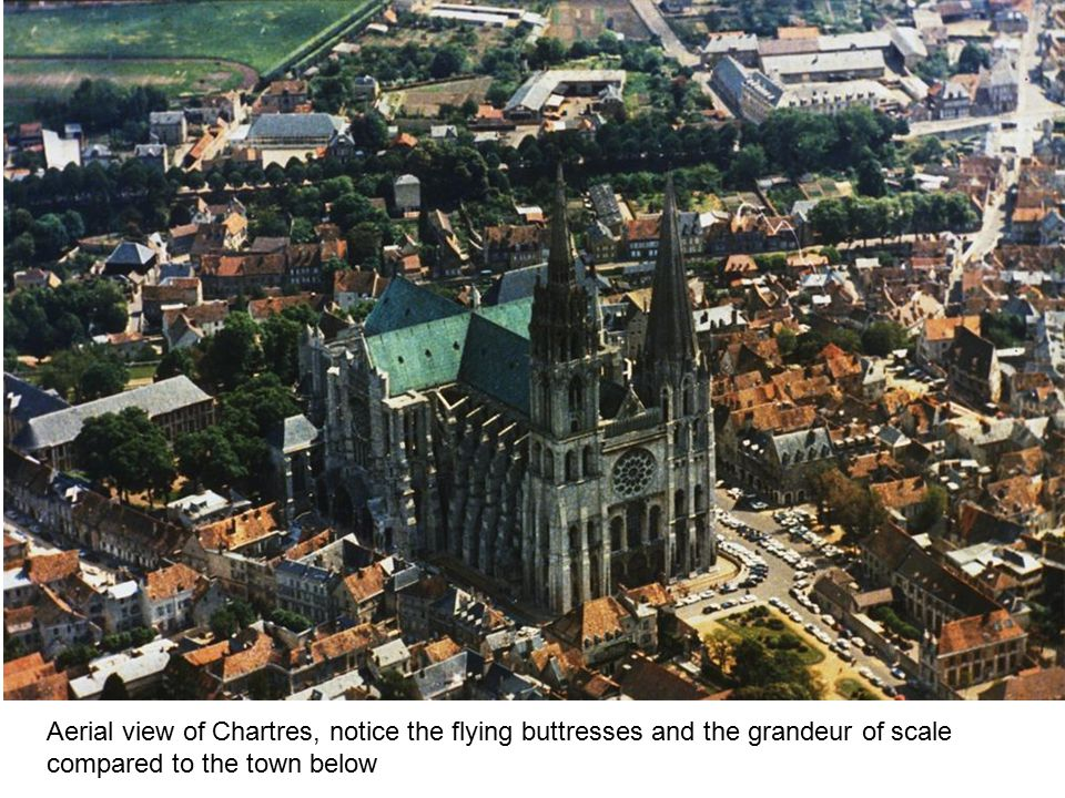 Aerial view of Chartres, notice the flying buttresses and the grandeur of scale compared to the town below
