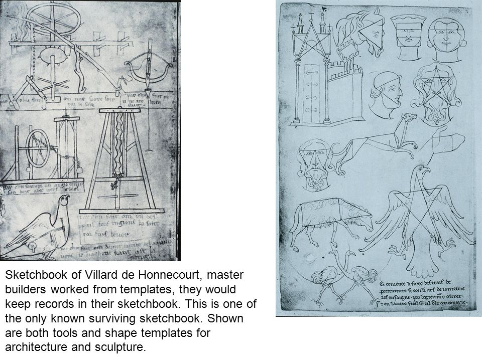 Sketchbook of Villard de Honnecourt, master builders worked from templates, they would keep records in their sketchbook.