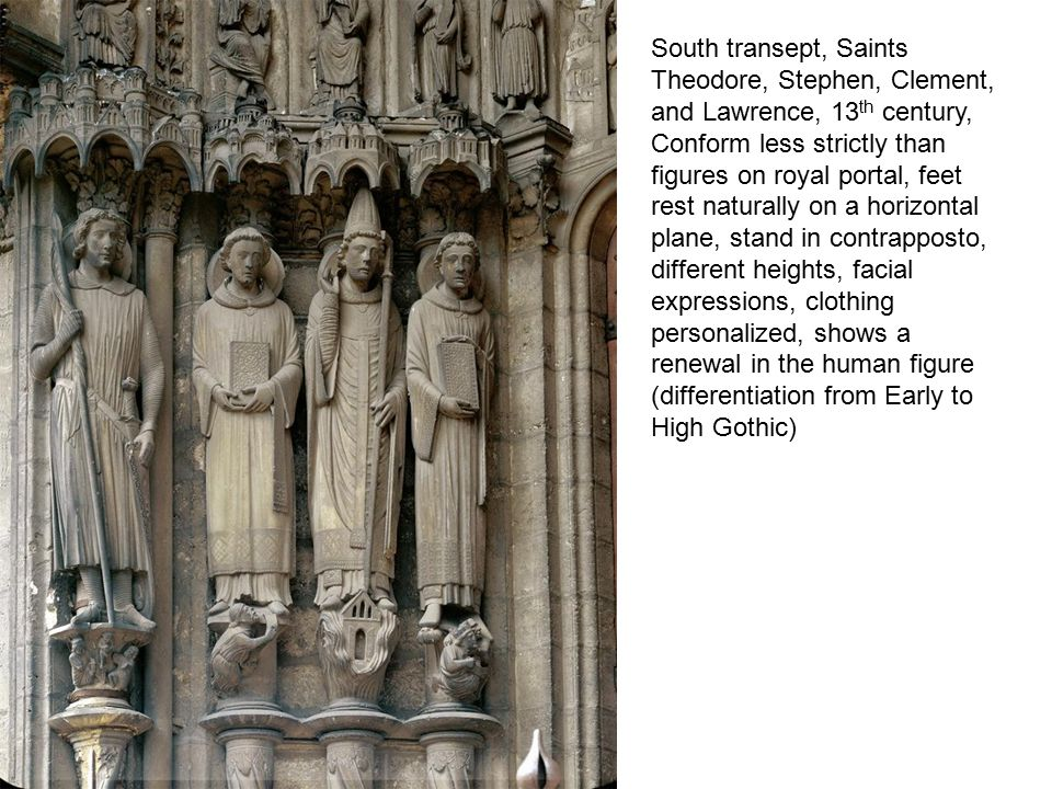South transept, Saints Theodore, Stephen, Clement, and Lawrence, 13th century,