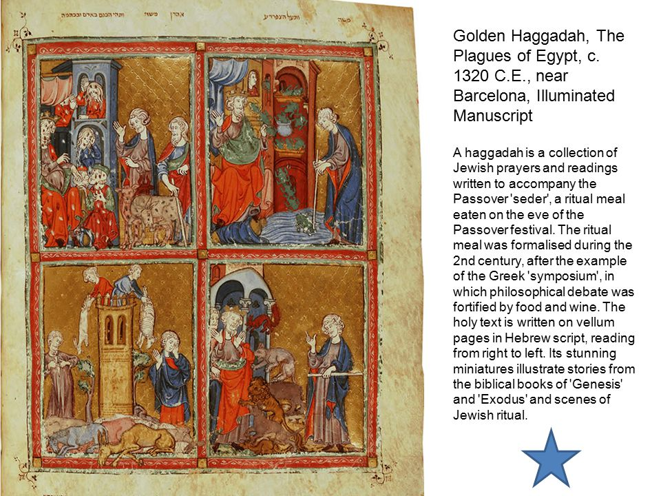 Golden Haggadah, The Plagues of Egypt, c. 1320 C. E