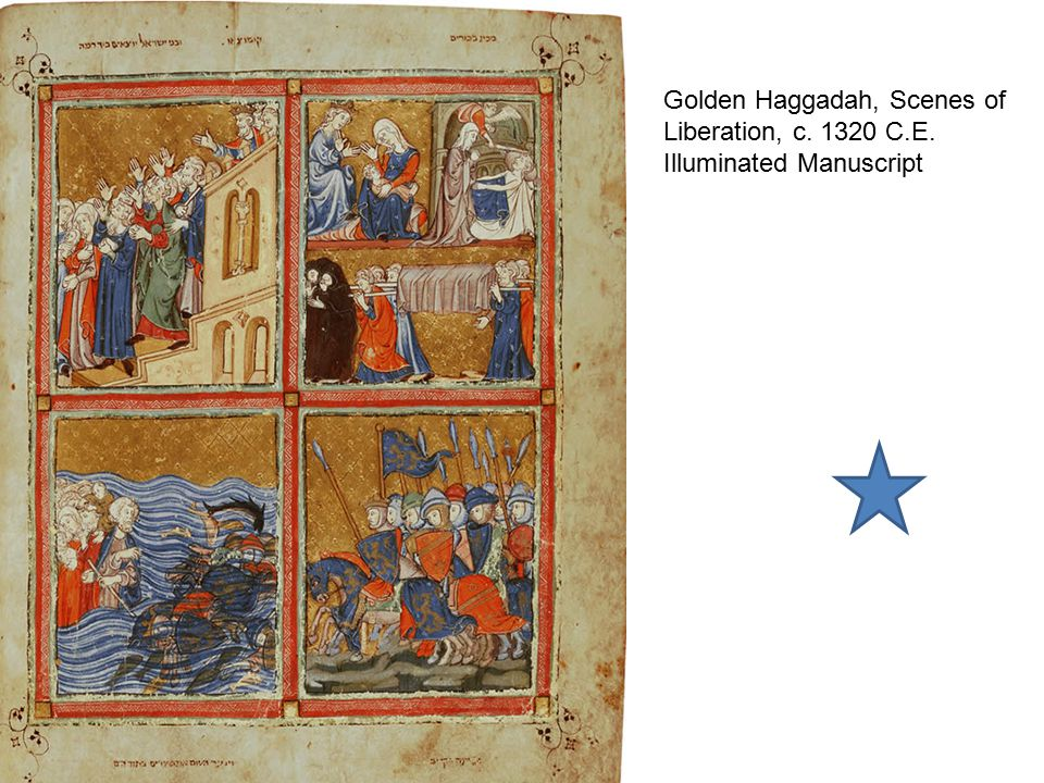 Golden Haggadah, Scenes of Liberation, c. 1320 C. E