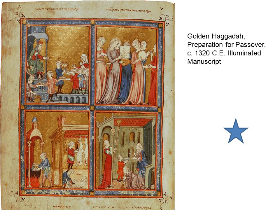 Golden Haggadah, Preparation for Passover, c. 1320 C. E