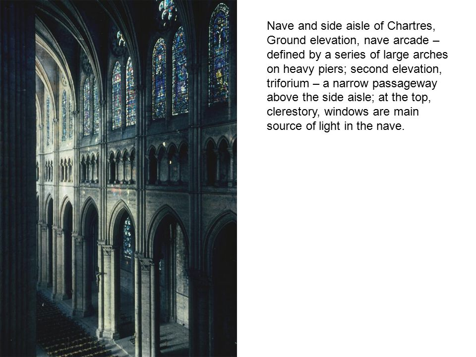 Nave and side aisle of Chartres,