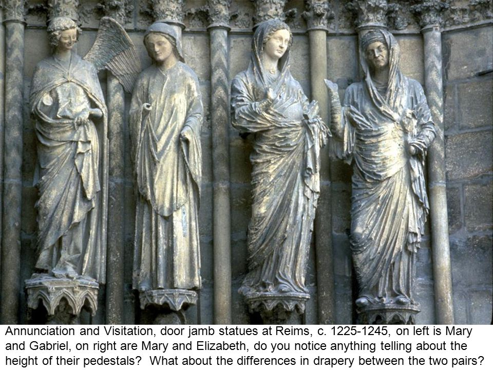 Annunciation and Visitation, door jamb statues at Reims, c