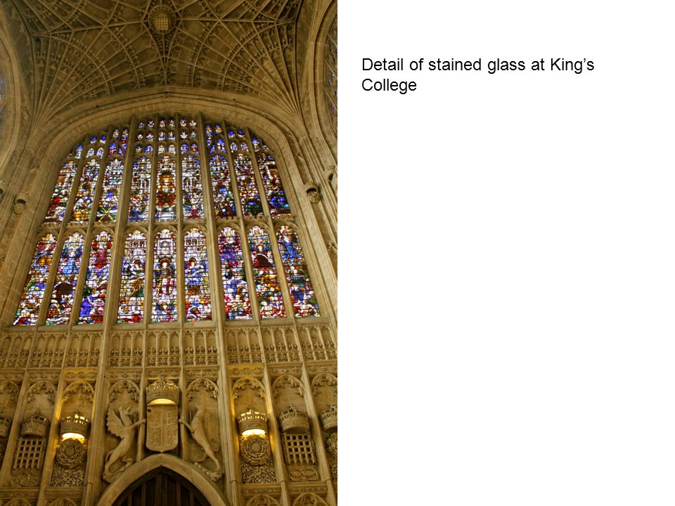 Detail of stained glass at King's College