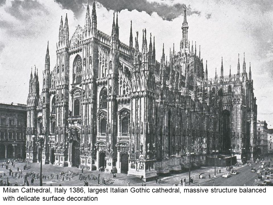 Milan Cathedral, Italy 1386, largest Italian Gothic cathedral, massive structure balanced with delicate surface decoration