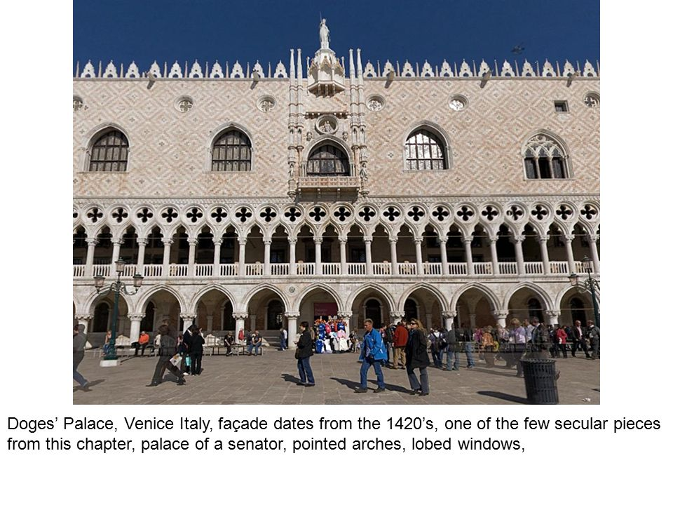 Doges' Palace, Venice Italy, façade dates from the 1420's, one of the few secular pieces from this chapter, palace of a senator, pointed arches, lobed windows,