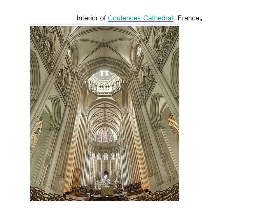 Interior of Coutances Cathedral, France.