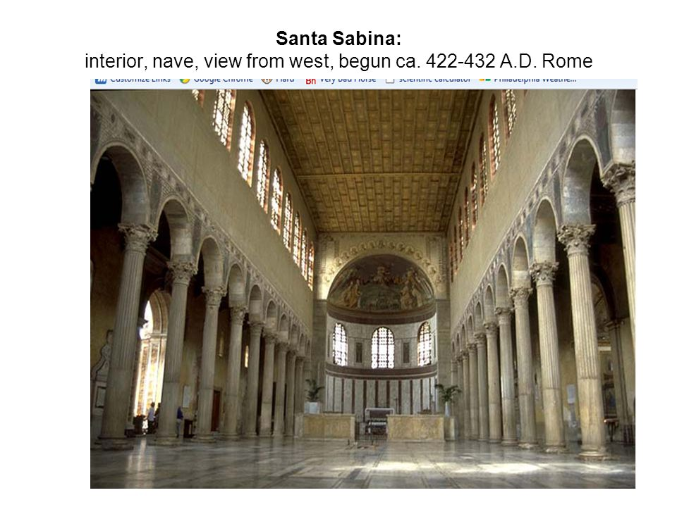 Santa Sabina: interior, nave, view from west, begun ca. 422-432 A. D