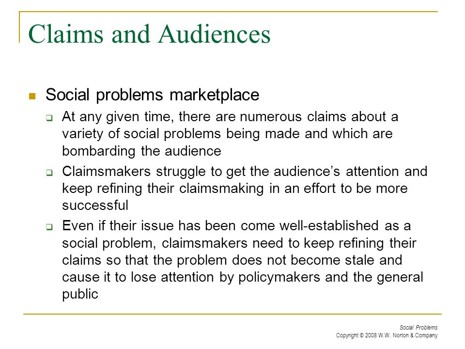 Claims and Audiences Social problems marketplace