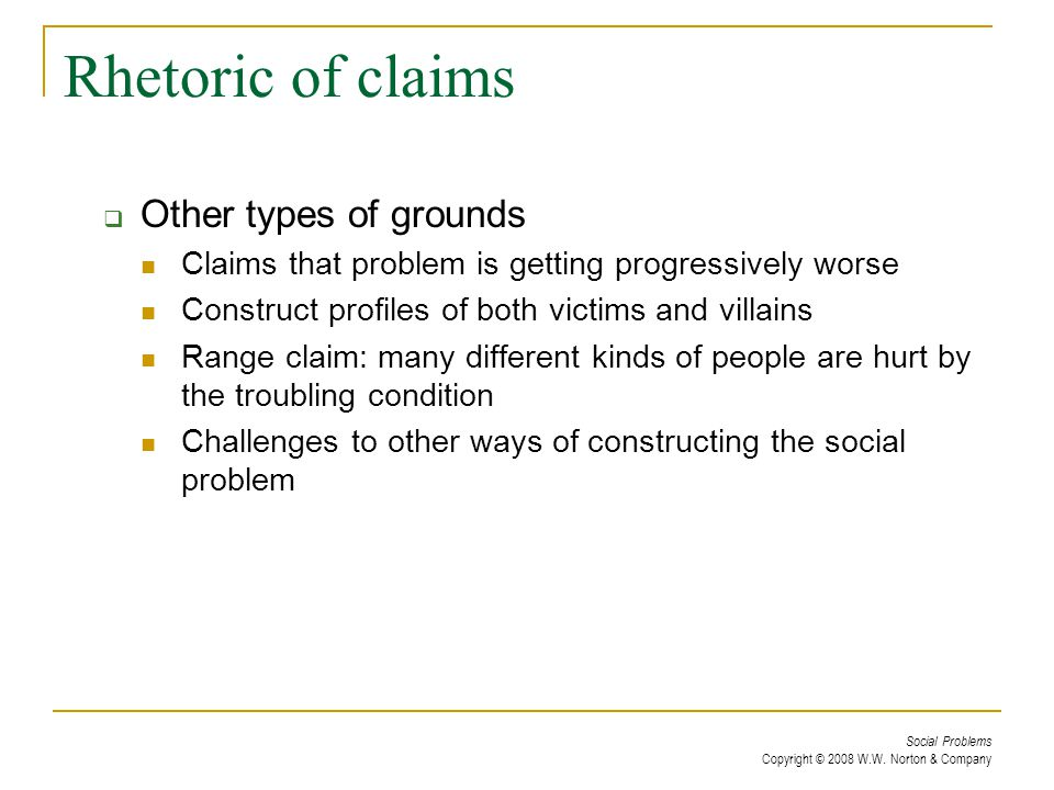 Rhetoric of claims Other types of grounds