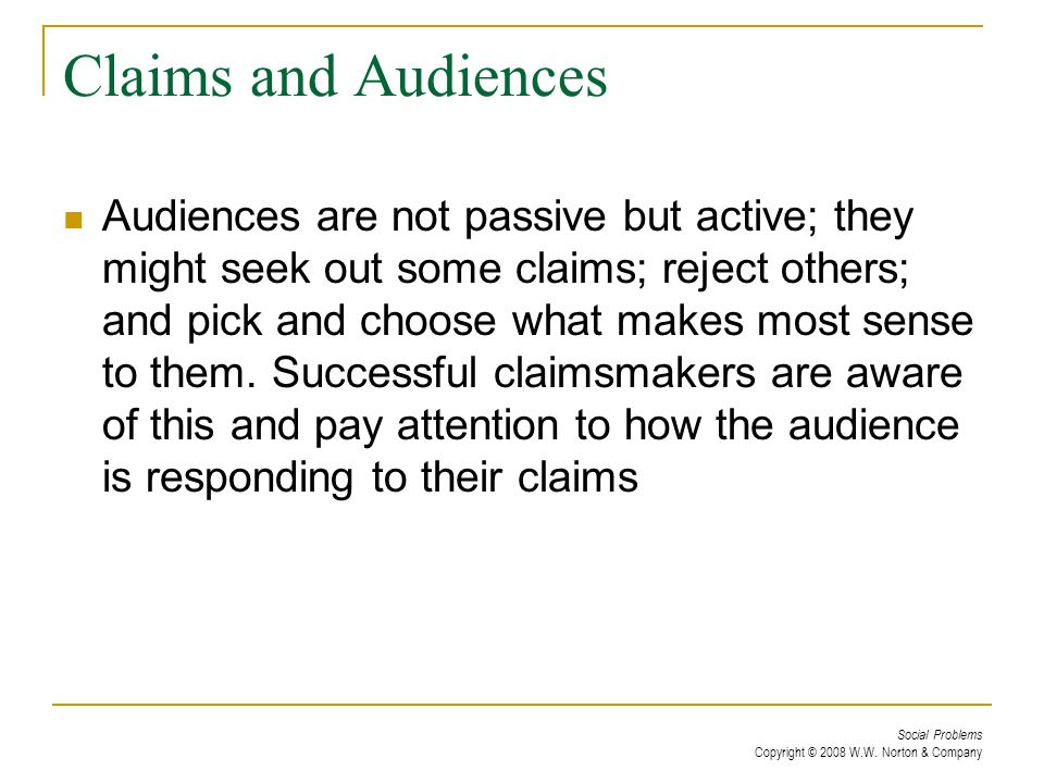Claims and Audiences