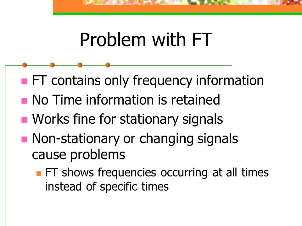 Problem with FT FT contains only frequency information