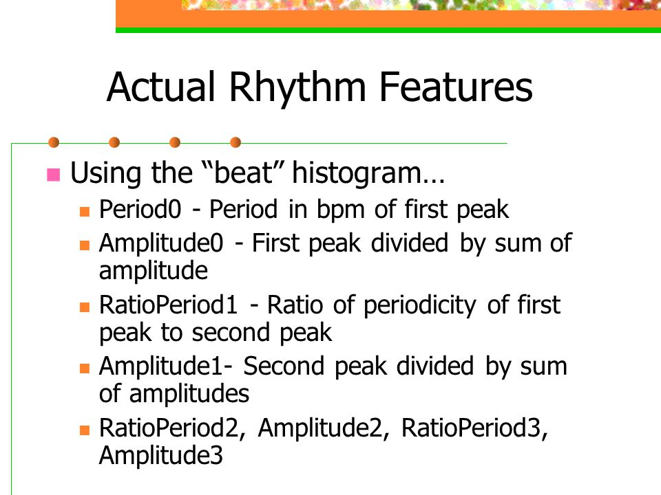 Actual Rhythm Features
