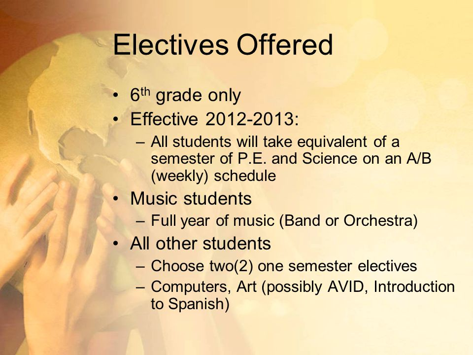 Electives Offered 6th grade only Effective 2012-2013: Music students