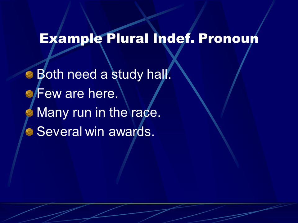 Example Plural Indef. Pronoun