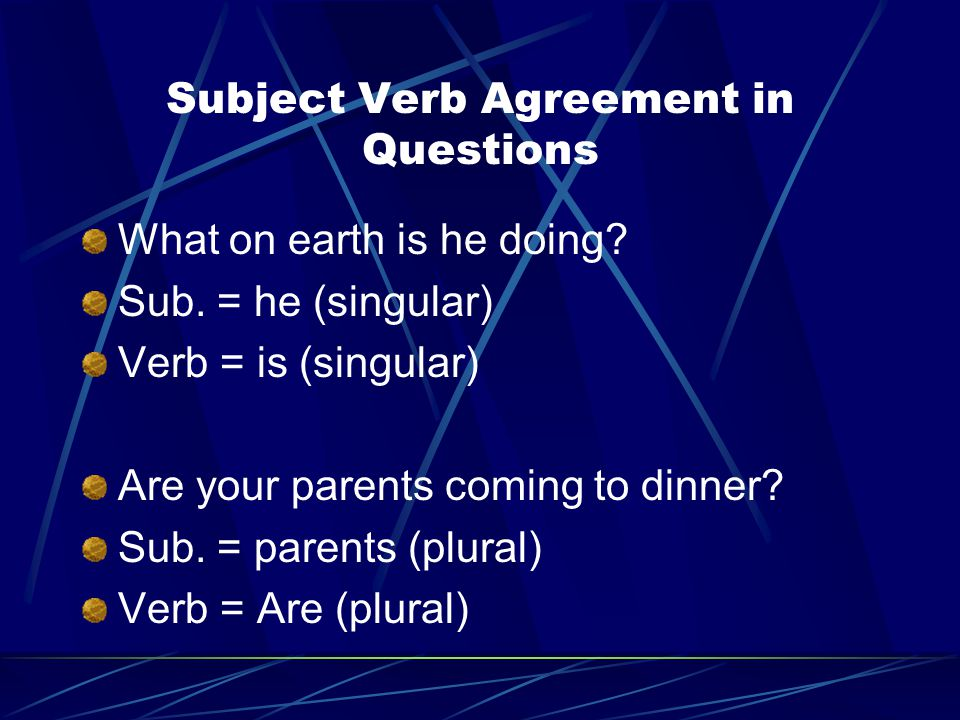 Subject Verb Agreement in Questions