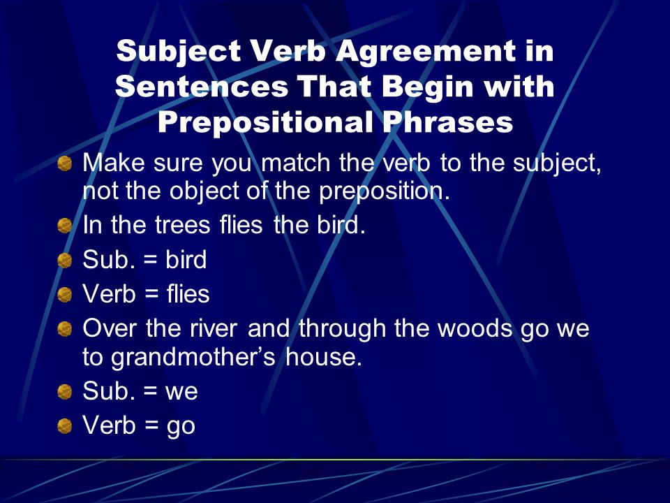 Subject Verb Agreement in Sentences That Begin with Prepositional Phrases