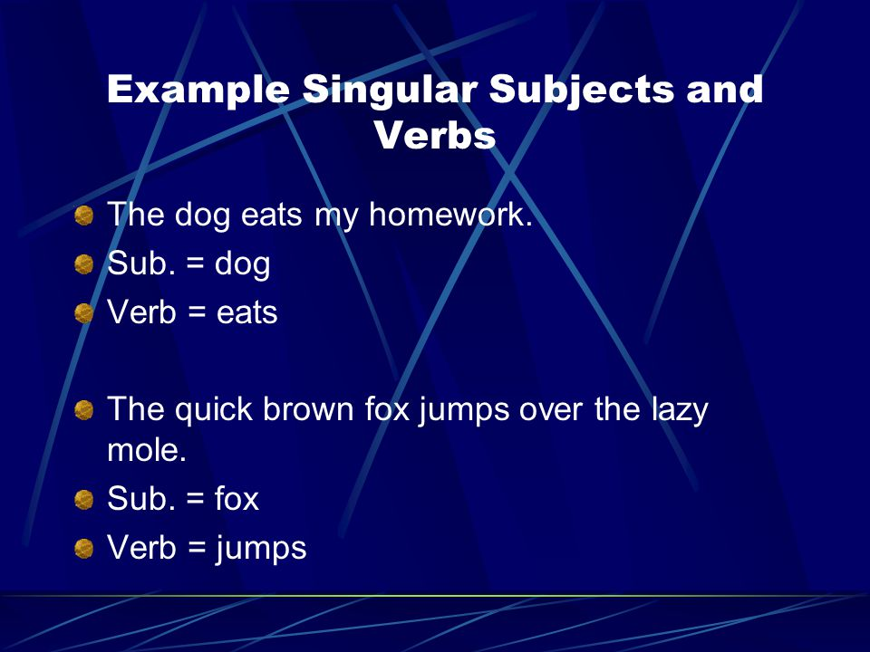 Example Singular Subjects and Verbs