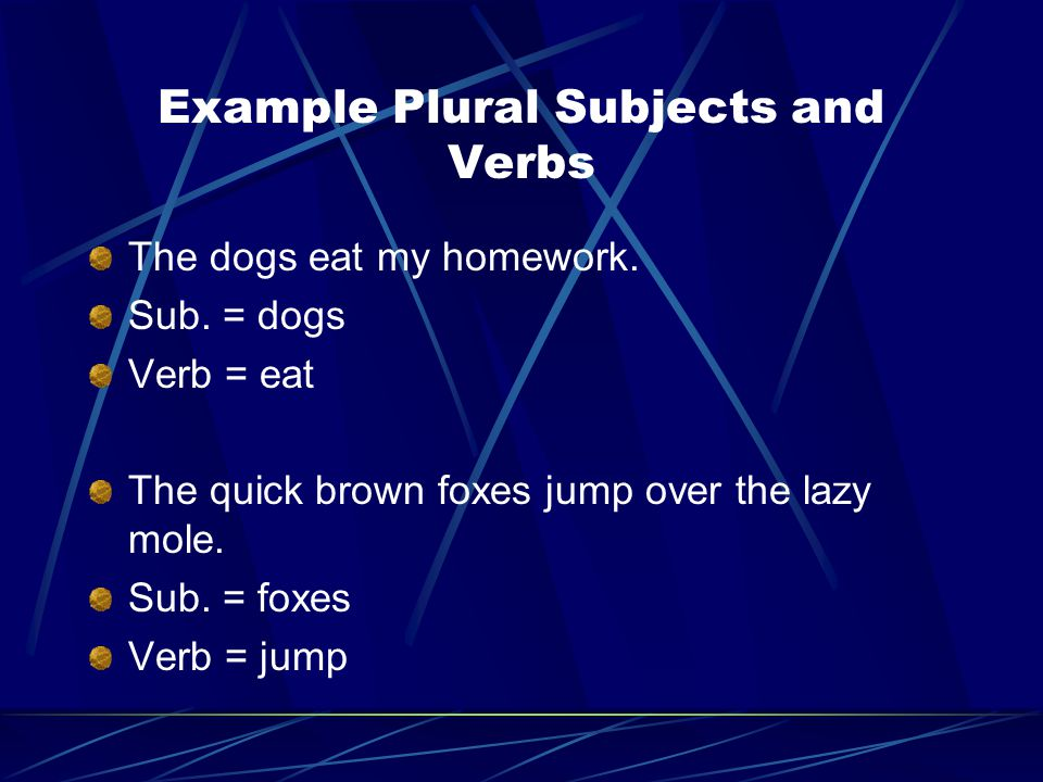 Example Plural Subjects and Verbs
