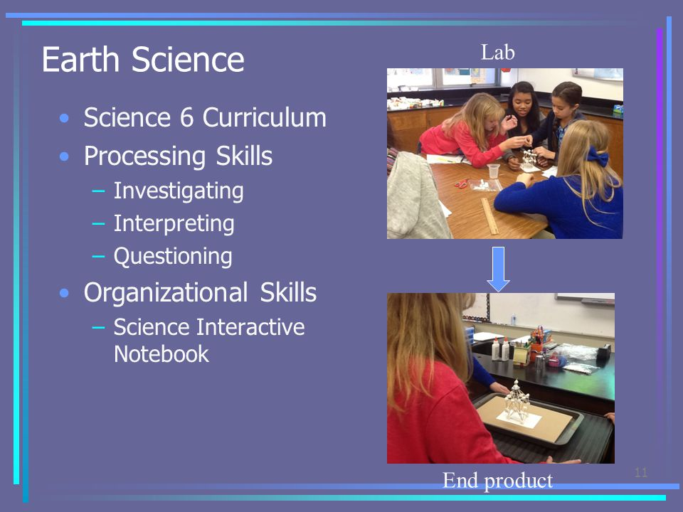 Earth Science Science 6 Curriculum Processing Skills