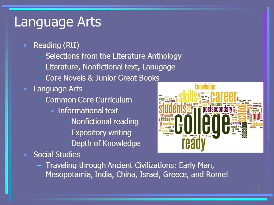 Language Arts Reading (RtI) Selections from the Literature Anthology