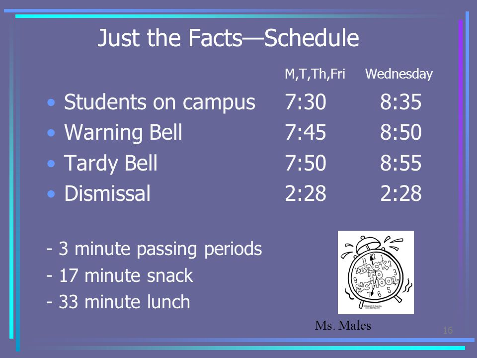 Just the Facts—Schedule